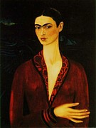 Pd Framed Prints - Frida Kahlo Self Portrait Framed Print by Pg Reproductions