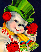 Vintage Image Posters - Frosty The Snowman Poster by Vintage Christmas Card Image