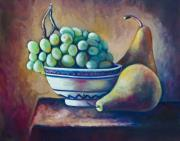 Grapes Paintings - Fruit Bowl by Eve  Wheeler