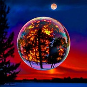 Art Glass Prints - Full Moon over New Richmond sunset Print by Robin Moline