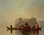 Black Cat Landscape Posters - Fur Traders Descending the Missouri Poster by George Caleb Bingham