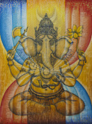 Ganapati Paintings - Ganesha  by Vrindavan Das