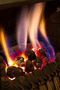 Fire Stones Prints - Gas Fire Burning Strongly Inside A Modern Home Print by Fizzy Image
