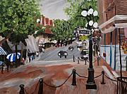 Canada Paintings - Gastown street scene. by Ginevre Smith