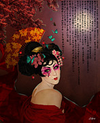 Sakura Mixed Media Prints - Geisha Print by Dominic Gomes