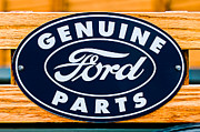 Car Pictures Framed Prints - Genuine Ford Parts Sign Framed Print by Jill Reger