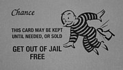 Black Top Digital Art - GET OUT OF JAIL FREE CARD in BLACK AND WHITE by Rob Hans