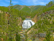 National Mixed Media Posters - Gibbon Falls - Yellowstone National Park Poster by Photography Moments - Sandi