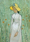 Red Flower Paintings - Girl in White by Vincent van Gogh