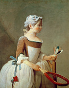 Rosy Framed Prints - Girl with Racket and Shuttlecock Framed Print by Jean-Baptiste Simeon Chardin