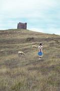Girl With Sheeps Print by Joana Kruse