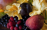 Cuisine Photographs Prints - Gladiolus and Fruits Print by Ivete Basso