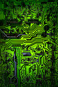 Technology Posters - Glowing Green Circuit Board Poster by Amy Cicconi