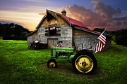 Tennessee Hay Bales Prints - God Bless America Print by Debra and Dave Vanderlaan