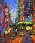 Chicago At Night Paintings - God Is Everywhere by J Loren Reedy