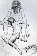 Nudes Drawings - God the Father and God the Son by Henri Lehmann