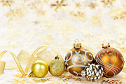 Ribbons Prints - Golden Christmas ornaments  Print by Elena Elisseeva