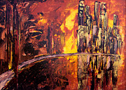Pallet Knife Prints - Golden City and the Bridge Print by Lidija Ivanek