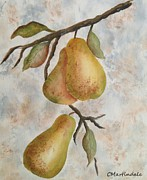 Pear Tree Painting Posters - Golden Pears Poster by Carole Martindale