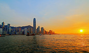 Hongkong Posters - Golden Sunset In Hong Kong Poster by Lars Ruecker