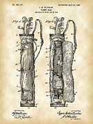 Sports Digital Art Metal Prints - Golf Bag Patent Metal Print by Stephen Younts