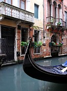 Brick Walls Prints - Gondola In Venice 2 Print by Mel Steinhauer