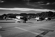 Helicopter Prints - grand canyon sightseeing tours helicopters at boulder city airport terminal Nevada USA Print by Joe Fox