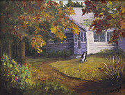 Indiana Autumn Painting Framed Prints - Grandmas House Framed Print by Bev Finger