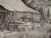 Old Barn Drawings - Grandpas old barn with Chevy Truck by Chris Shepherd