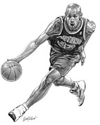 Athlete Drawings Posters - Grant Hill Poster by Harry West