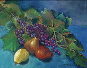 Grape Leaves Posters - Grapes and Pears Poster by Antonia Citrino