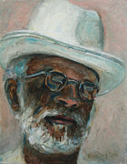 Blues Painting Originals - Gray Beard Under White Hat by Xueling Zou