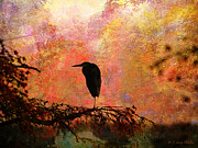 Silhouette Digital Art Prints - Great Blue Heron Print by J Larry Walker