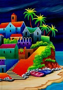 Steps Painting Originals - Greek Hideaway by Val Stokes