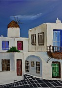 White Frame House Framed Prints - Greek Village Framed Print by Janice Rae Pariza