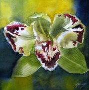 Faa Painting Prints - Green Orchid Print by Alfred Ng