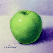 Apple Art Pastels Posters - Green Peace Poster by Natalia Astankina