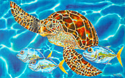 Caribbean Sea Tapestries - Textiles Framed Prints - Green Sea Turtle Framed Print by Daniel Jean-Baptiste