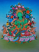 Tibetan Buddhism Paintings - Green Tara the Liberatrice by Binod Art School