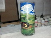 Painted Glass Art - Green Tractor by Dan Olszewski