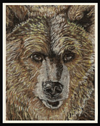 Wildlife Greeting Cards Tapestries - Textiles Posters - Grizzly Poster by Dena Kotka