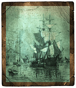 Torn Photo Framed Prints - Grungy Historic Seaport Schooner Framed Print by John Stephens