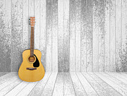 Acoustic Guitar Pyrography - Guitar in old room background by Thanapol Kuptanisakorn