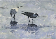 Silver Leaf Paintings - 2 Gulls On Ice by Heather Douglas