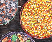 Bowls Paintings - Halloween Candy by Shana Rowe