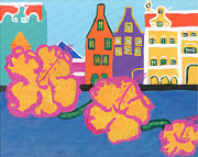 Netherlands Paintings - Handelskade with Flowers by Melissa Vijay Bharwani