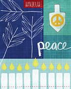 Olive Green Mixed Media Posters - Hanukkah Peace Poster by Linda Woods