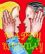 European Artwork Mixed Media Prints - Happy Birthday 9 Print by Patrick J Murphy