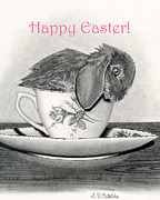 Cards Vintage Drawings Framed Prints - Happy Easter 2- Bunny In A Teacup Framed Print by Sarah Batalka