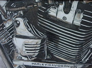 Bicycle Drawings - Harley Motor by Jessi Wagoner